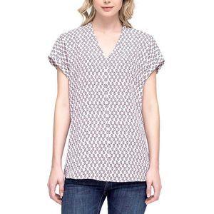 Pleione Paisley Print Folded Short Sleeve Blouse S